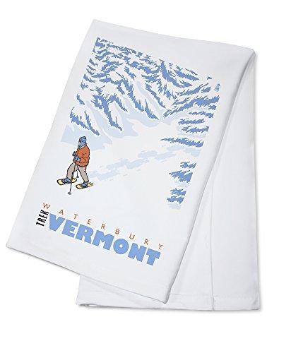 Waterbury Towel (Stylized Snowshoer - Waterbury, Vermont (100% Cotton Kitchen Towel))