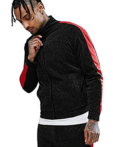 COOFANDY Men's Hip Hop Zip Up Varsity Bomber Jacket Premium Baseball Track Jackets with Side Taping