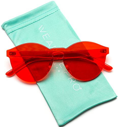 WearMe Pro - Colorful Transparent Round Super Retro Sunglasses (Red, - Red Hipster Glasses