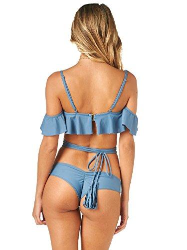 Mujeres Bandage Bikini Set Push-up acolchado Bra traje de baño Bañador traje de baño Azul