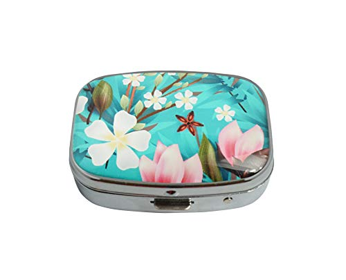 Baoquan Custom Silver Square Glass Pill Case Medicine Vitamin Organizer Pocket Decoration Gift (Tropical Flowers Calla)