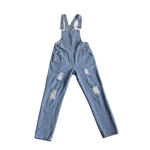 VEZAD Women's Button High Pants Broken Hole Jeans Autumn Jumpsuit