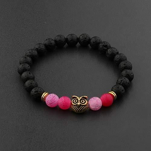 Werrox Natural Gemstone Beads Buddha Head Beaded Men Womens Lava Rock Bracelet | Model BRCLT - 2337 | ()
