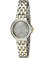 Citizen Womens Diamond Quartz Stainless Steel Casual Watch, Color:Two Tone (Model: EM0444-56A)