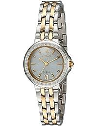 Women's 'Diamond' Quartz Stainless Steel Casual Watch, Color:Two Tone (Model: EM0444-56A)