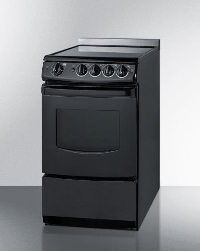 Summit Black Electric Range - REX206BRT 20 Electric Range with 4 Elements 2.4 cu. ft. Capacity Smooth Ceramic Glass Top Porcelain Oven Interior and Upfront Controls in Black