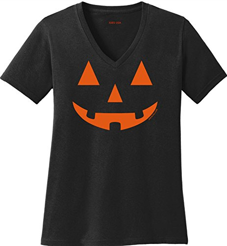 (JACK O' LANTERN PUMPKIN Ladies Black V-Neck)