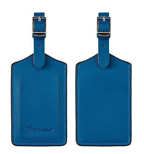Travelambo Leather Luggage Bag Tags (Blue 6269 Steel Blue)