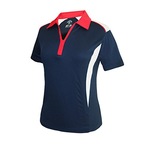 Monterey Club Ladies' Dry Swing Double Colorblock Zip-up Short Sleeve Shirt #2270 (Navy/Red/White, Medium)