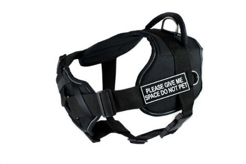 Medium Dean & Tyler Black with Reflective Trim Fun Dog Harness with Padded Chest Piece, Please Give Me Space Do Not Pet, Medium