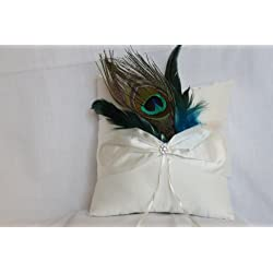 Peacock Feathers and Sparkling Brooch Ring Pillow - Ivory