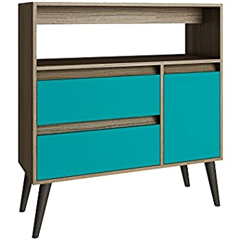Superbe Manhattan Comfort Gota Single Door Console Table In Oak Aqua Gray