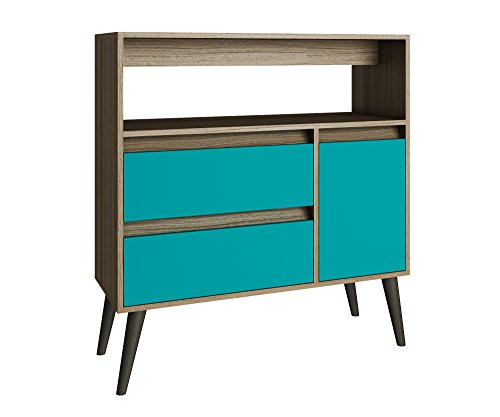 Manhattan Comfort Gota High Side Table Collection Multi Functional Modern Side Table / TV Stand with Storage, Includes 2 Drawers, 1 Door and 1 Shelf with Splayed Legs, Oak/Aqua/Grey ()
