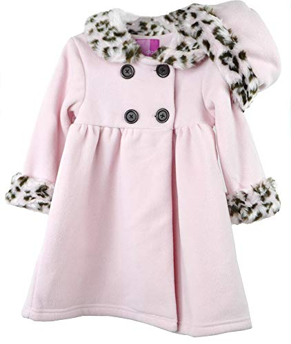 Good Lad Newborn/Infant Girls Pink Double Breasted Fleece Coat with Faux Animal Fur on Collar and Cuffs, and Matching Hat (3/6M)
