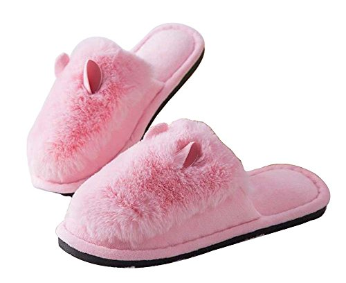 Women Plush Fuzzy Slippers Cozy Slippers Winter Indoor Slippers Pink TqgEHdT
