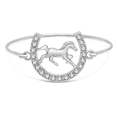 - SENFAI U Type Crystal Horse Snaffle Bit Easy Hook Clasp Charm Bracelet Bangle Jewelry (Silver)