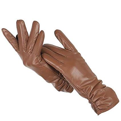 IAMZHL Guanti classici in pelle pieghettata guanti colorati da donna guanti invernali da donna-a55-7.5