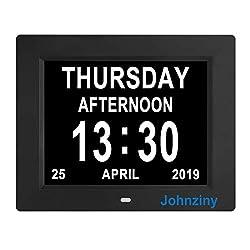 Digital Day Calendar Clock 8 Alarms Auto Dimming Extra Large Non-Abbreviated Dementia Vision Impaired Seniors Elderly Memory Loss Alzheimer Clock