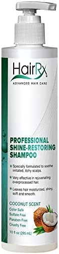 HairRx Professional Shine-Restoring Shampoo with Pump, Light Lather, Coconut Scent, 10 Ounce