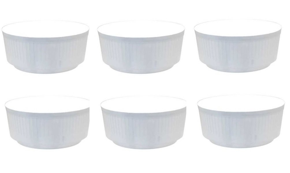 6 x White Medium Size 20.5cm Round Plastic Garden Bulb Bowl Storage Grow Tub APAC