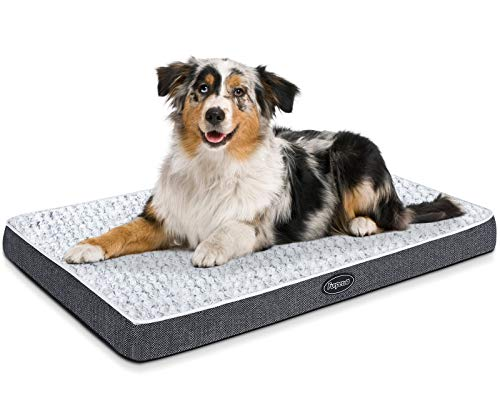 Furpezoo Orthopedic Dog Beds for Large Dog Bed(40″x27″x2.8″), Dog Mattress for Crate , Memory Foam Dog Bed of Comfortable Rose Swirl Plush Beds with Removable Washable Cover, White, XL