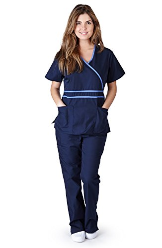Natural Uniforms Women's Contrast Mock Wrap Scrub Set (Navy Blue) ()
