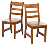 "Lipper International 523-4P Child's Chairs for Play or Activity, 12.38"" W x 15"" D x 26.63"" H, Set of 2, Pecan Finish"
