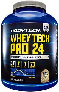 BodyTech Whey Tech Pro 24 Protein Powder Protein Enzyme Blend with BCAA s to Fuel Muscle Growth Recovery, Ideal for PostWorkout Muscle Building Cookies Cream 5 Pound