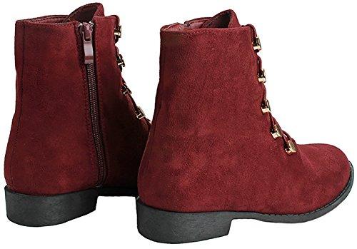 Jjf Chaussures Femmes Simili Suède Élastique Lacets Zip Latéral Oeillets Dorés Bottines Bottillons Vin