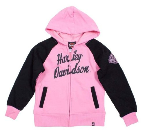 Harley-Davidson Big Girls' HD Fleece Full-Zip Hooded Sweatshirt Pk 0341588 (7/8)