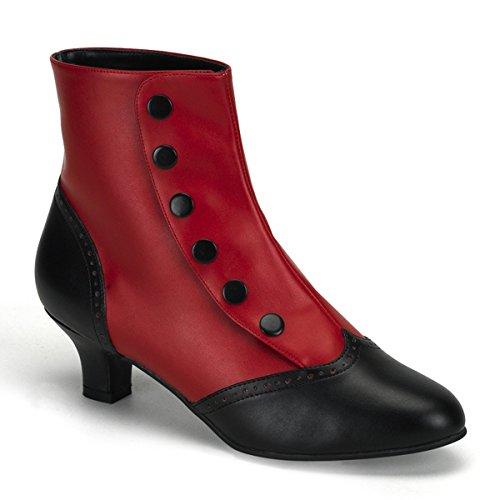 Bordello by Pleaser Women's Flora-1023 Boot,Red-Black Polyurethane,8 M US
