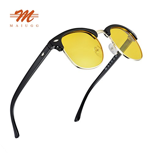 Night Driving Glasses Anti Glare Polarized Sunglasses HD Yellow Lens for Night Safety Glasses (Black, - Driving Lens