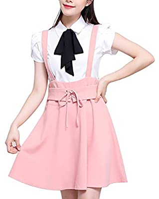Womens Preppy Ruffle Pull-on Gallus Skirt