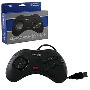 retro-bit-pc-0387Saturn controlador USB con cable, color negro