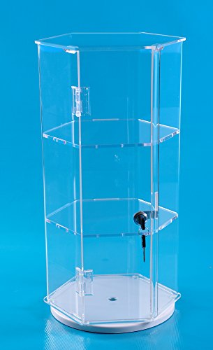 24 Quot Rotating Hexagonal Display Case With 2 Shelves