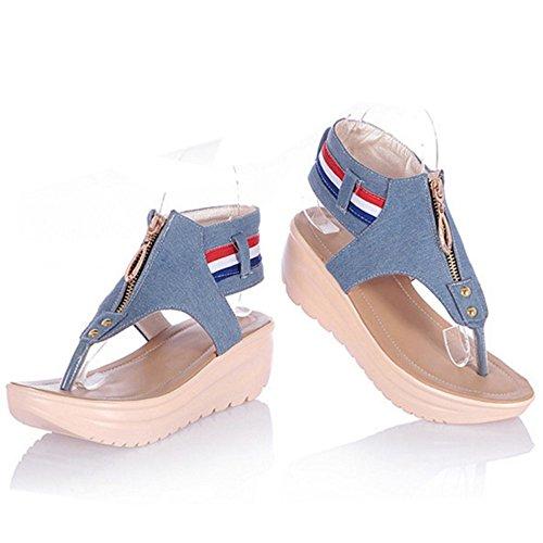TAOFFEN Femmes Mode Clip Toe Sandales Compenses Plateforme Sangle De Cheville Chaussures De Fermeture Eclair Bleu Clair 10TMZGc