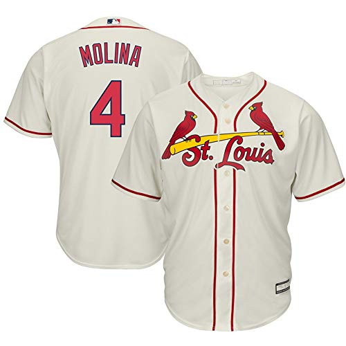Yadier Molina St. Louis Cardinals Cool Base Player Jersey #4- Cream L