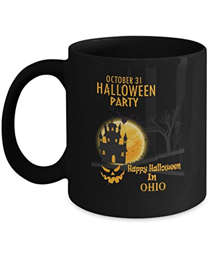 Awesome halloween, party gifts mug - Happy Halloween In Ohio - Amazing gift For For Dad, husband On Halloween Day - Black 11oz 2 sides]()
