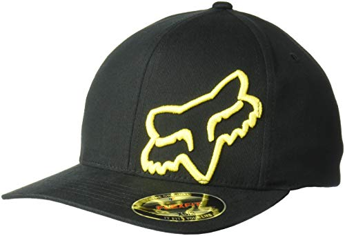 new styles 3a6cc 92b3c Fox Men s Flex 45 Flexfit Hat, Black Yellow, Large X-Large