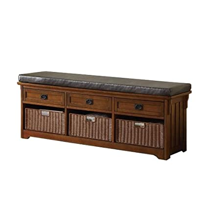Superieur Coaster Traditional Brown Large Storage Bench With Baskets