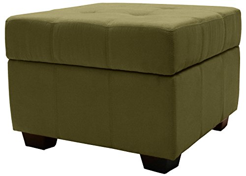 Epic Furnishings Microfiber Suede Upholstered Tufted Padded Hinged Square Storage Ottoman Bench, 24 , Olive Green