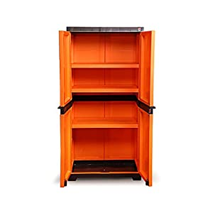 Cello Novelty Big Cupboard with 3 Shelves (Orange and Brown)