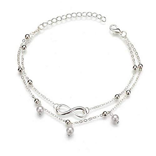 Sandover Forever Love Charm Gold Silver Chain Ankle Bracelet Anklet Foot Beach Jewelry   Model BRCLT - 26472  