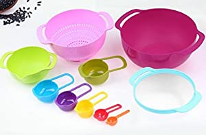 Premium Large Mixing Bowl Set - Food Grade Plastic Nesting Bowl & Measuring Cup Bundle - Multicolor Kitchen Essential Accessories & Tools - Colorful & Compact Set Of 8 - Includes Colander & Sifter