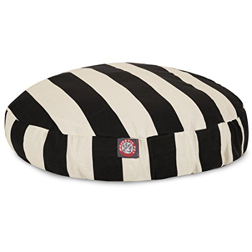 Black Vertical Stripe Medium Round Indoor Outdoor Pet Dog Bed With Removable Washable Cover By Majestic Pet Products