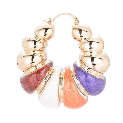 s Enamel Hoop Earring Thick Door Knocker Bamboo Eearrings Colorful Jewelry ()