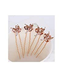 Bridal Wedding Prom Rhinestone Crystal Flower Hair Styling U Pins(4pcs)