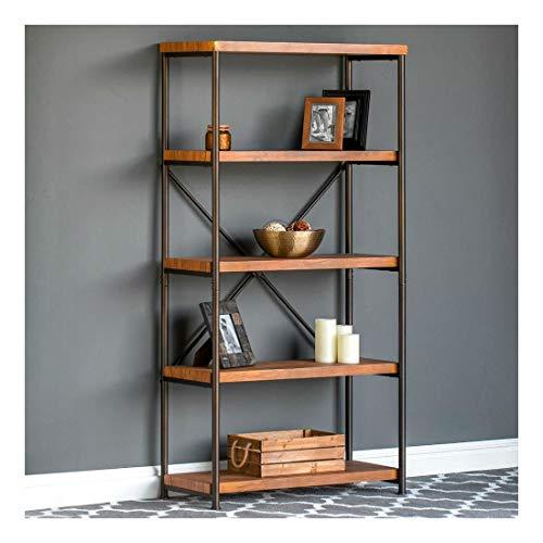 4-Tier Industrial Bookshelf w/Metal Frame, Wood Shelves - Brown