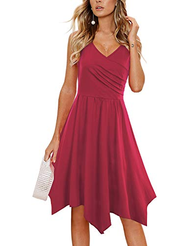 - SOLERSUN Long Summer Dresses for Women,Women's Elegant V-Neck Sleeveless Asymmetrical Handkerchief Hem Cocktail Party Midi Dress Wine red XL