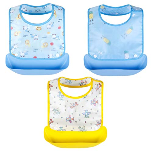 Growth Pal 3 Pack Waterproof Baby Bibs with Adjustable Snaps Easy to Clean Feeding Bibs for Boys-01